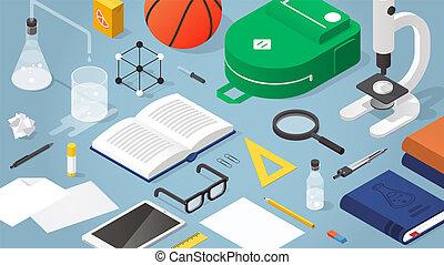 escuela, isométrico, suministros, ilustración