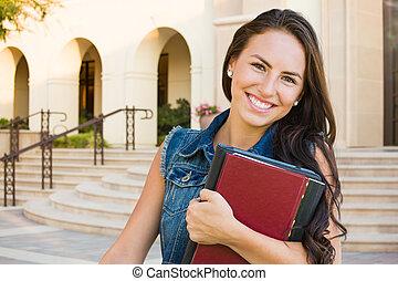 escuela, joven, carrera, libros, estudiante, mezclado, niña, campus