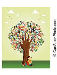 escuela, leer, árbol, mano, aprender, educación