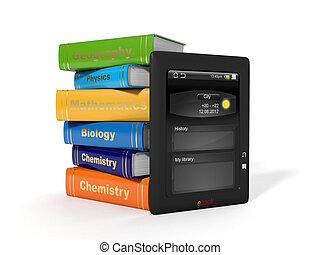 escuela, librosde texto, e-book., alto, illustration:, 3d