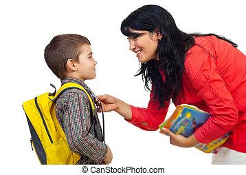 escuela, madre, preparando, hijo