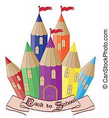 escuela, magia, espalda, castillo
