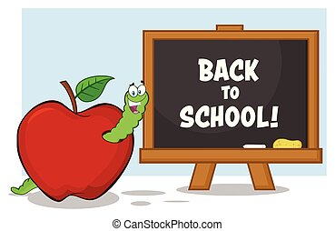 escuela, manzana, carácter, espalda, gusano, pizarra, mascota, caricatura, rojo, feliz