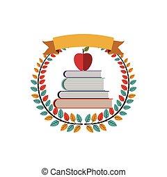 escuela, manzana, colorido, corona, libros, aceituna, cinta