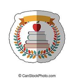 escuela, manzana, colorido, pegatina, corona, medio, libros, aceituna, sombra, cinta