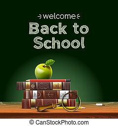 escuela, manzana, escuela, espalda, desk., libros