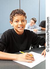 escuela media, niño, en la clase