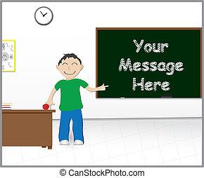 escuela, mensaje, pizarra