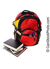escuela, mochila, desbordante, con, suministros