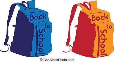 escuela, mochila, espalda