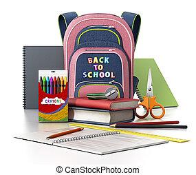 escuela, mochila, y, objetos, aislado, blanco, fondo., 3d, ilustración