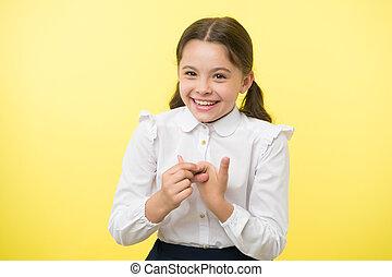 escuela, moda, belleza, amarillo, fondo., mucho, tan, uniform., niño, fun., child., feliz