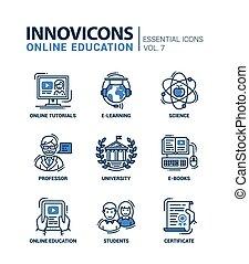 escuela, moderno, iconos, pictograms, diseño, línea fina, educación