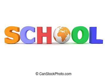 escuela, mulitcolour, global, -, uno, globo