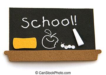 escuela, negro, tabla