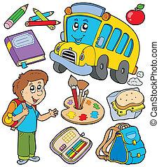 escuela, objetos, colección