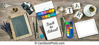 escuela, oficina, concept., espalda, peajes, suministros, ...