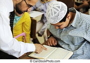 escuela, oriental, estudiantes, Corán, medio, árabe, lectura