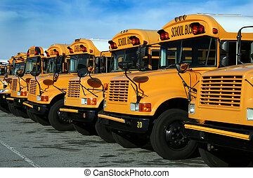 escuela pública, fila, estacionado, autobuses