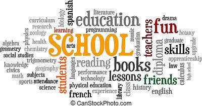 escuela, palabra, árbol, vector, etiqueta, burbuja, nube