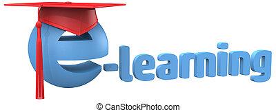 escuela, palabra, gorra, aprendizaje, e, educación, grad