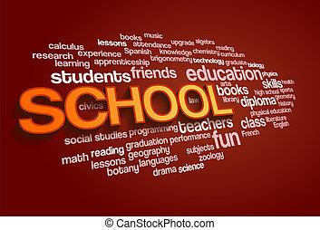escuela, palabra, nube, burbuja, etiqueta, árbol
