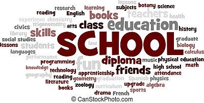 escuela, palabra, nube, burbuja, etiqueta, árbol, vector