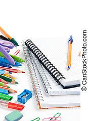 escuela, papelería, aislado, encima, blanco, con, copyspace