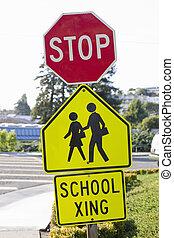 escuela, parada, signo paso peatón