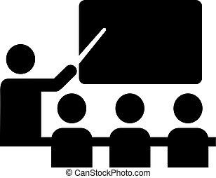 escuela, pictogram, con, profesor, y, alumnos