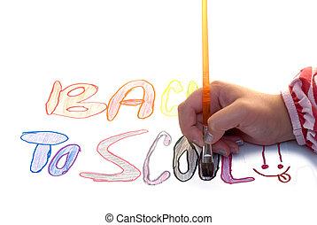 escuela, pintura, espalda