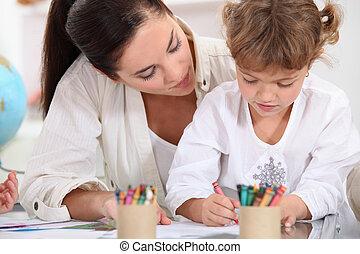 escuela, pintura, niña