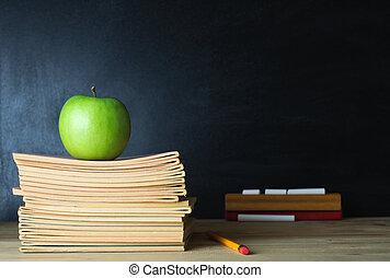 escuela, pizarra, y, profesor, escritorio