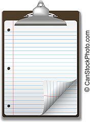escuela, portapapeles, papel cuaderno, esquina, rizo, página, gobernado