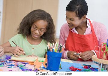 escuela primaria, clase de arte