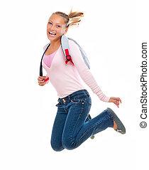 escuela, school., espalda, saltando alto, estudiante, sonreír feliz