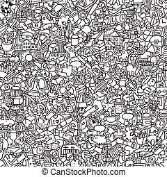 escuela, seamless, patrón, en, negro y blanco
