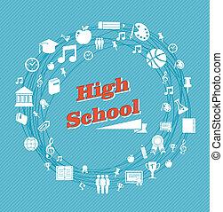 escuela secundaria, educación, icons.