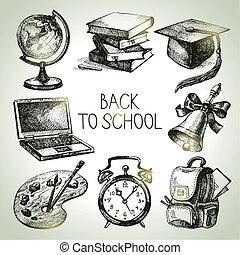 escuela, set., objeto, mano trasera, vector, ilustraciones,...