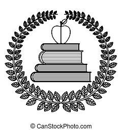 escuela, silueta, manzana, hojas, corona, libros