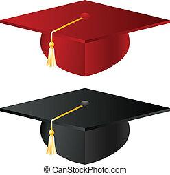 escuela, sombrero, graduación