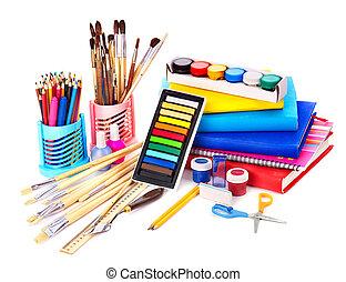 escuela, supplies., espalda