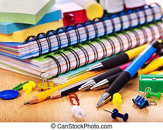 escuela, supplies., oficina