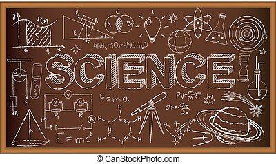 escuela, tabla, garabato, con, ciencia, symbols., vector,...