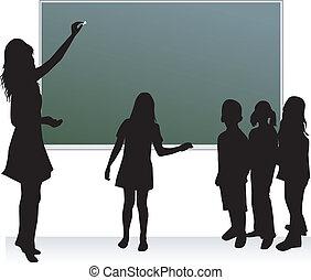 escuela, tabla, y, profesor, y, childrens