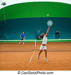 escuela, tenis