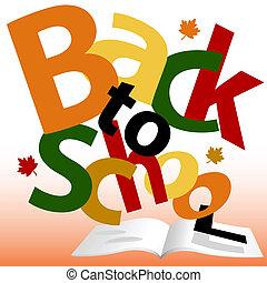 escuela, texto, espalda, libro, palabras, otoño, páginas