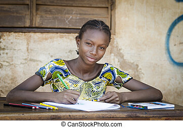 escuela, tiro, símbolo, educativo, posar, africano, niña