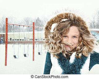 escuela, tormenta de nieve, niño