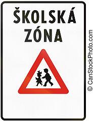 escuela, utilizado, zona, medios, -, skolska, zone.,...